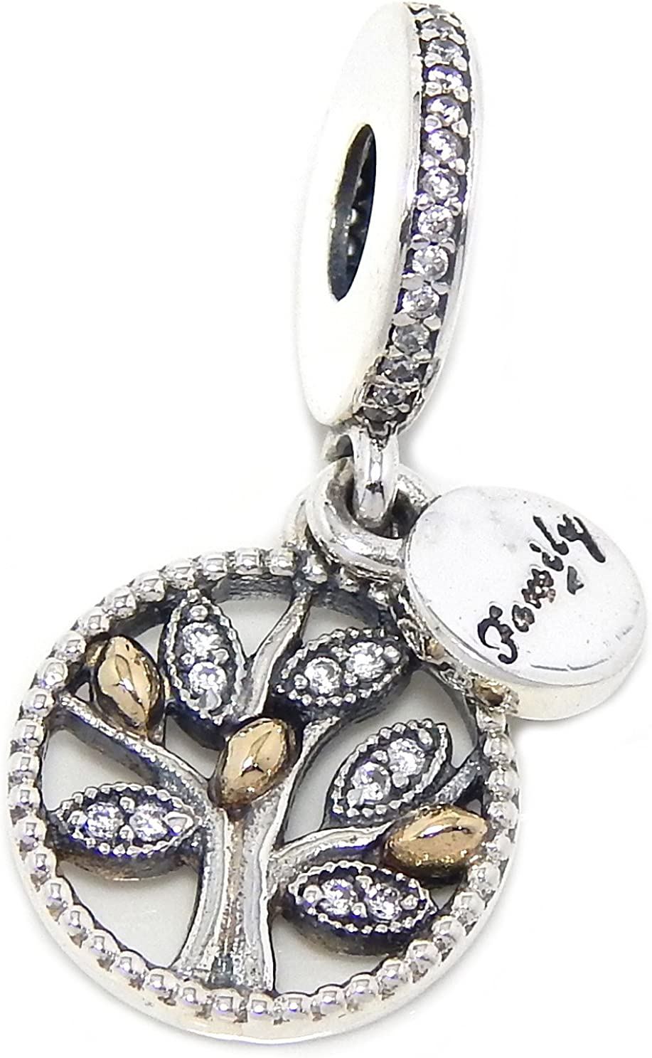 Solid 925 Sterling Silver Dangling Family Tree w// 14K gold /& White CZ Charm Bead 003