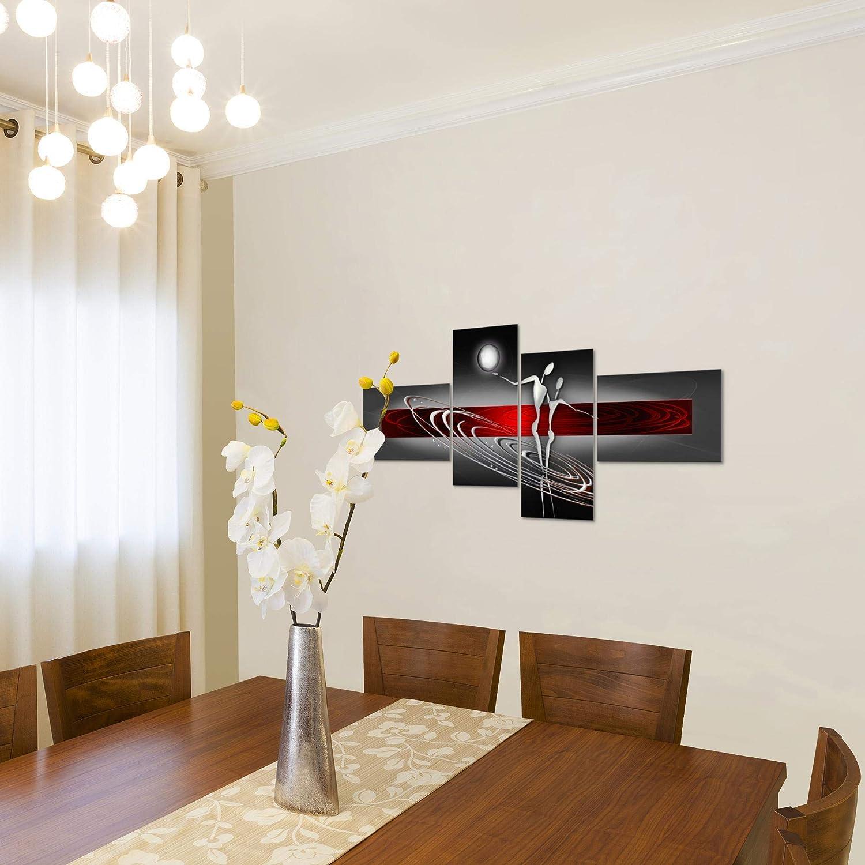 Taille XXL Salon Appartement D/écoration Photos dart Rouge 4 Parties MADE IN GERMANY pr/êt /à accrocher 301245a Photo Figures abstraites D/écoration Murale 150 x 60 cm Toison