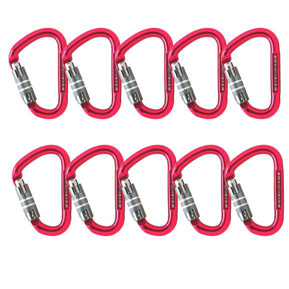 Fusion Climb Eureka Aluminum Triple Lock Pear Shape Carabiner 10-Pack