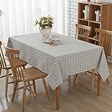 Mantel lino, Vintage Style mantel mesa de café rectangular anti mancha al polvo para decoración de casa y cocina, Gray lattice, 140 x 200 cm