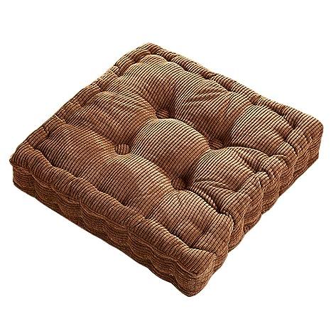 SWECOMZE Silla Cojín Solid Color Corduroy Cojín para Interior y Exterior Acolchado Grueso Edredón Almohada/Cojín de Suelo, Camel, 40X40X10cm