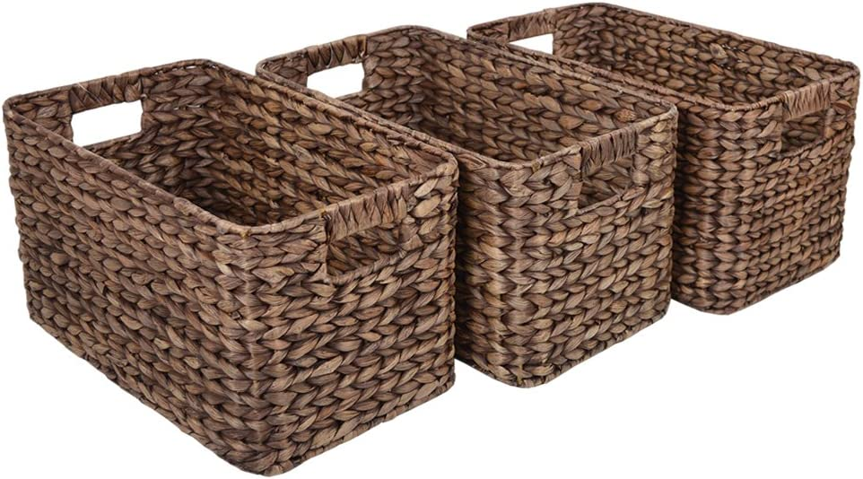 Wovenhill Set of 3 Large Milton Brown Rattan Storage Baskets 3 x W28 x D46 x H25cm