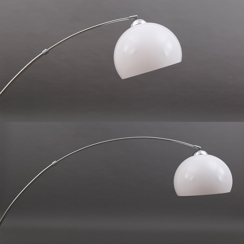 l/ámpara de suelo E27 max l/ámpara de arco 168 x 124.4 cm Briloner Leuchten metal 40W L/ámpara de pie color: cromo-blanco