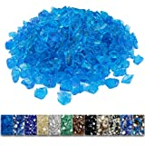 Grisun Caribbean Blue Fire Glass for Fire Pit, 9 1/2 Pounds 1/2 Inch Tempered Glass Rocks for Natural or Propane Fireplace, S