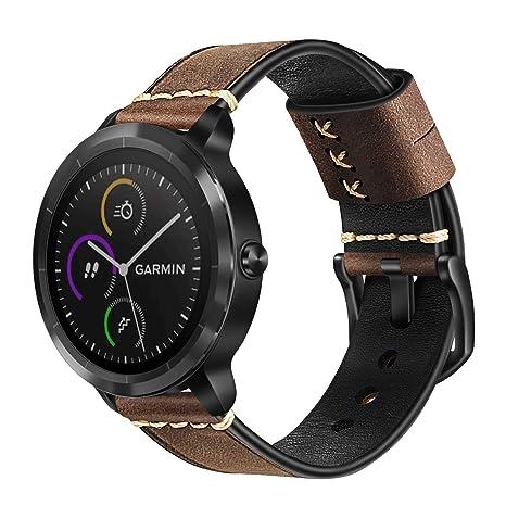 Fintie Correa para Garmin Vivoactive 3/Vivoavtive 3 Music/Forerunner 645 Music/Vivomove HR Smartwatch - 20mm Pulsera de Repuesto Suave de Cuero ...
