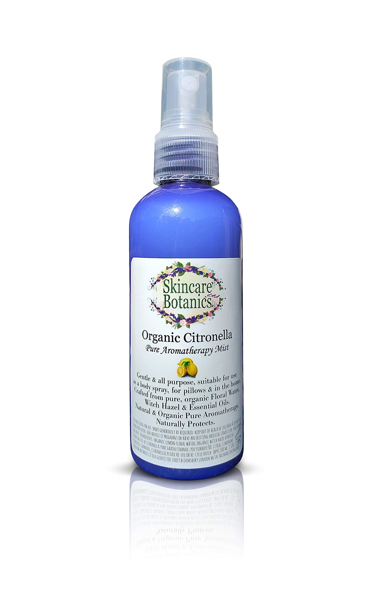 Aromatherapy Organic and Natural Citronella Room Spray, Pillow & Body Spray/Deet Free/Made in England