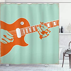 Ambesonne Guitar Shower Curtain, Creative Musician Playing Jamming Instrument Acoustic Performing Vintage, Fabric Bathroom Decor Set with Hooks, 70