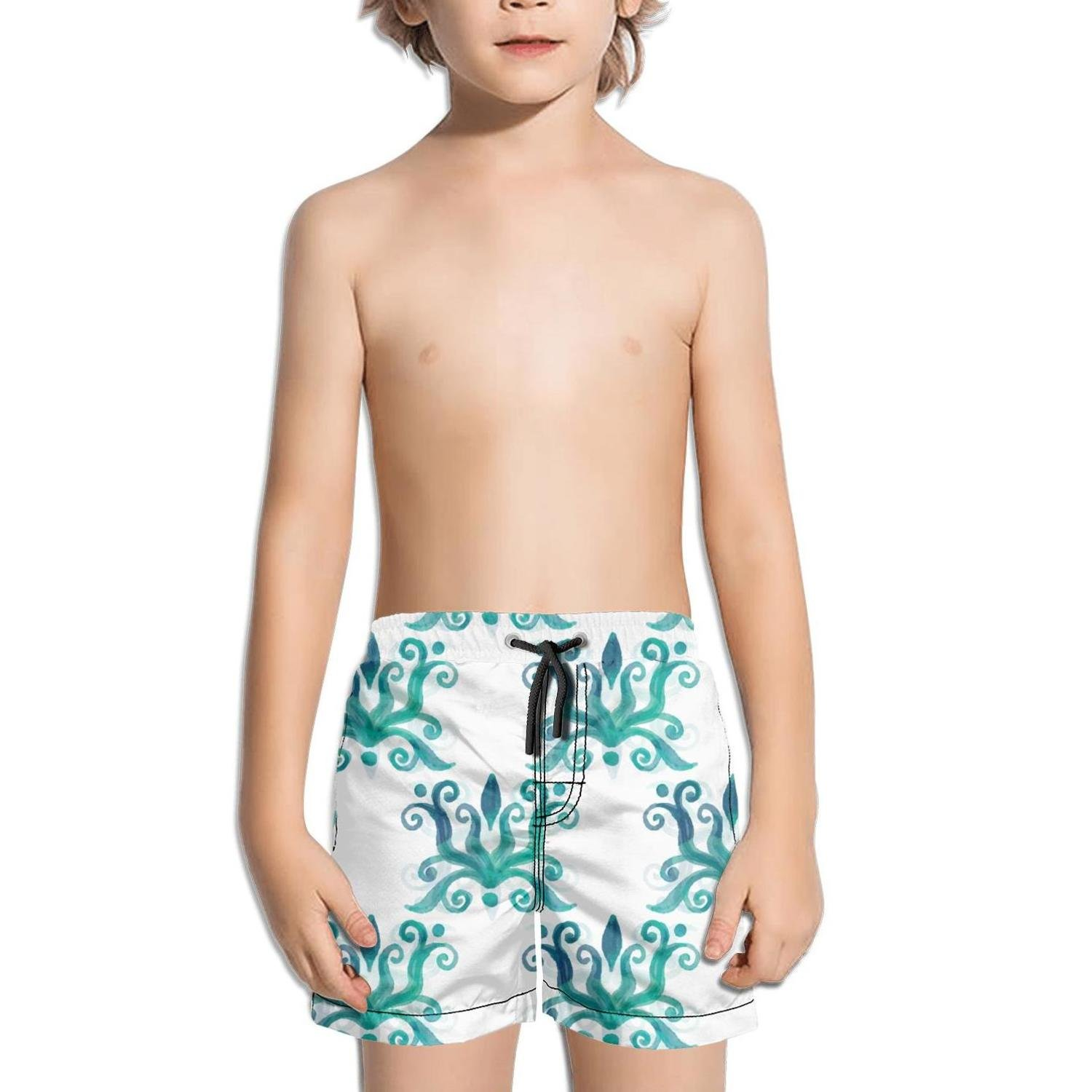Lenard Hughes Boys Quick Dry Beach Shorts with Pockets Watercolor Blue Ethnic Fabric Swim Trunks for Summer