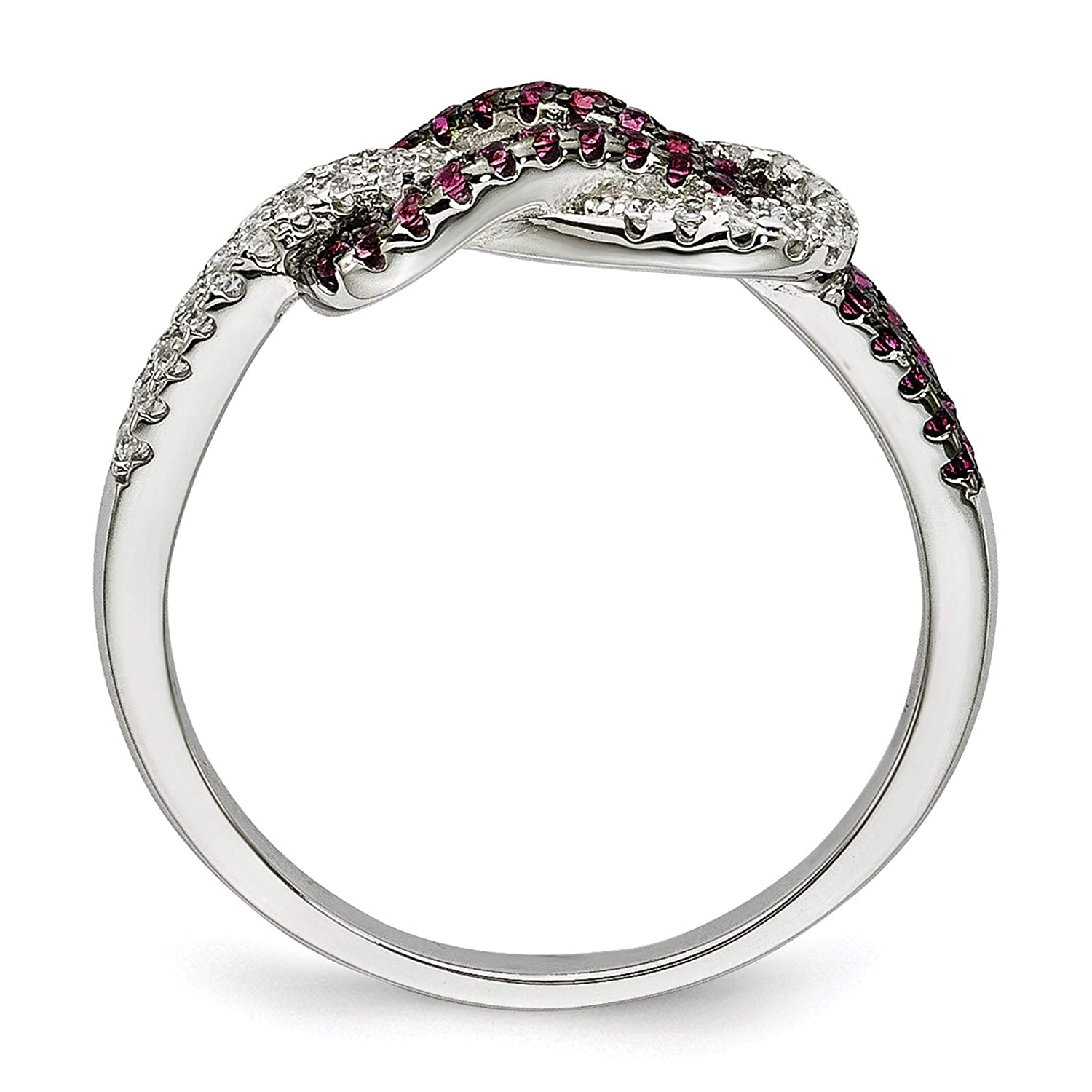 Brilliant Embers 925 Sterling Silver Rhodium-plated Pink /& Clear CZ Love Knot Ring Band Size 6-8