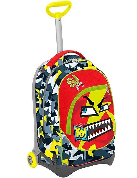 Seven S.P.A. Mochila con carrito Jack Junior – SJ con emoticono – Rojo y Amarillo –