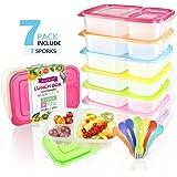RayPard 7 Stück Bento/Lunchboxen(Mit 7 Gabel Löffel) ,3 Fach Brotdose Behälter mit farblich passendem Löffel und Gabel, Mikrowellengeeignet, Spülmaschinenfest und Wiederverwendbar