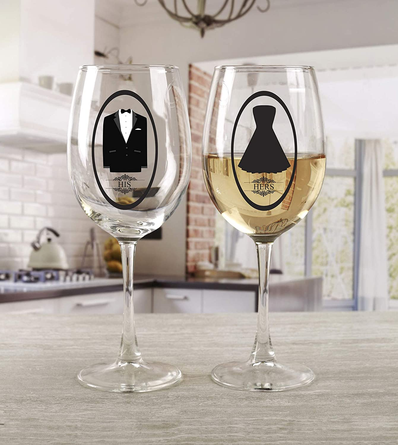 Circleware 77069 Fun Saying Wine Glasses, Set of 2, Party Entertainment Dining Beverage Drinking Glassware Cups for Water, Liquor, Whiskey, Beer, Juice and Farmhouse Decor Gifts 15 oz His and Hers