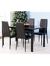 Merax 5PC Glass Top Dining Set 4 Person Dining Table And Chairs Set Kitchen  Modern Furniture