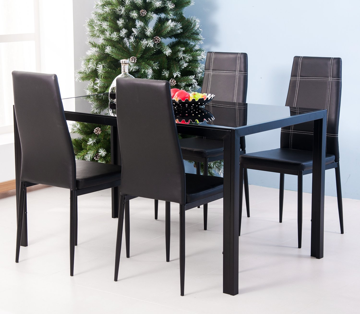 Amazon.com - Merax 5PC Glass Top Dining Set 4 Person Dining Table ...