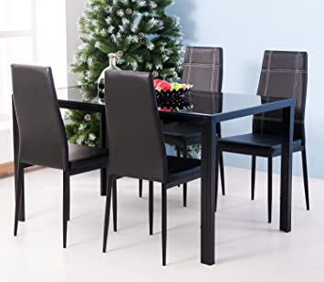 Amazoncom Merax 5PC Glass Top Dining Set 4 Person Dining Table