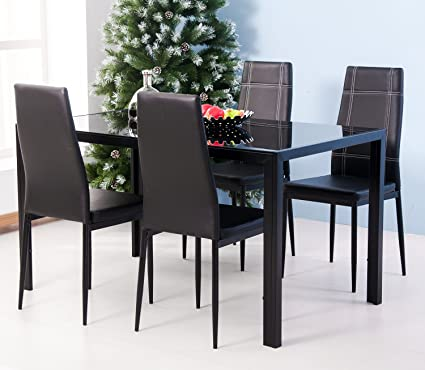 Ordinaire Merax 5PC Glass Top Dining Set 4 Person Dining Table And Chairs Set Kitchen  Modern Furniture