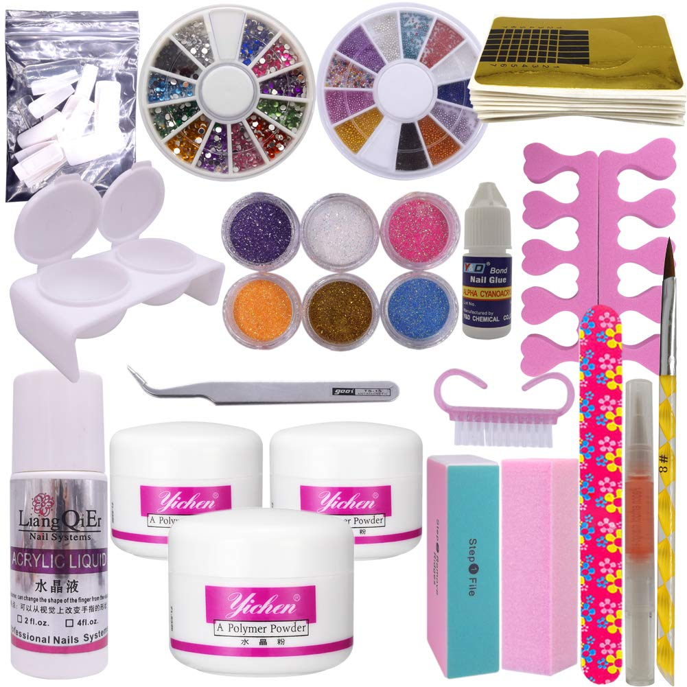 Warm Girl Full Nail Art Set Acrylic Glitter Powder Liquid Tip Brush Glue Dust Kit