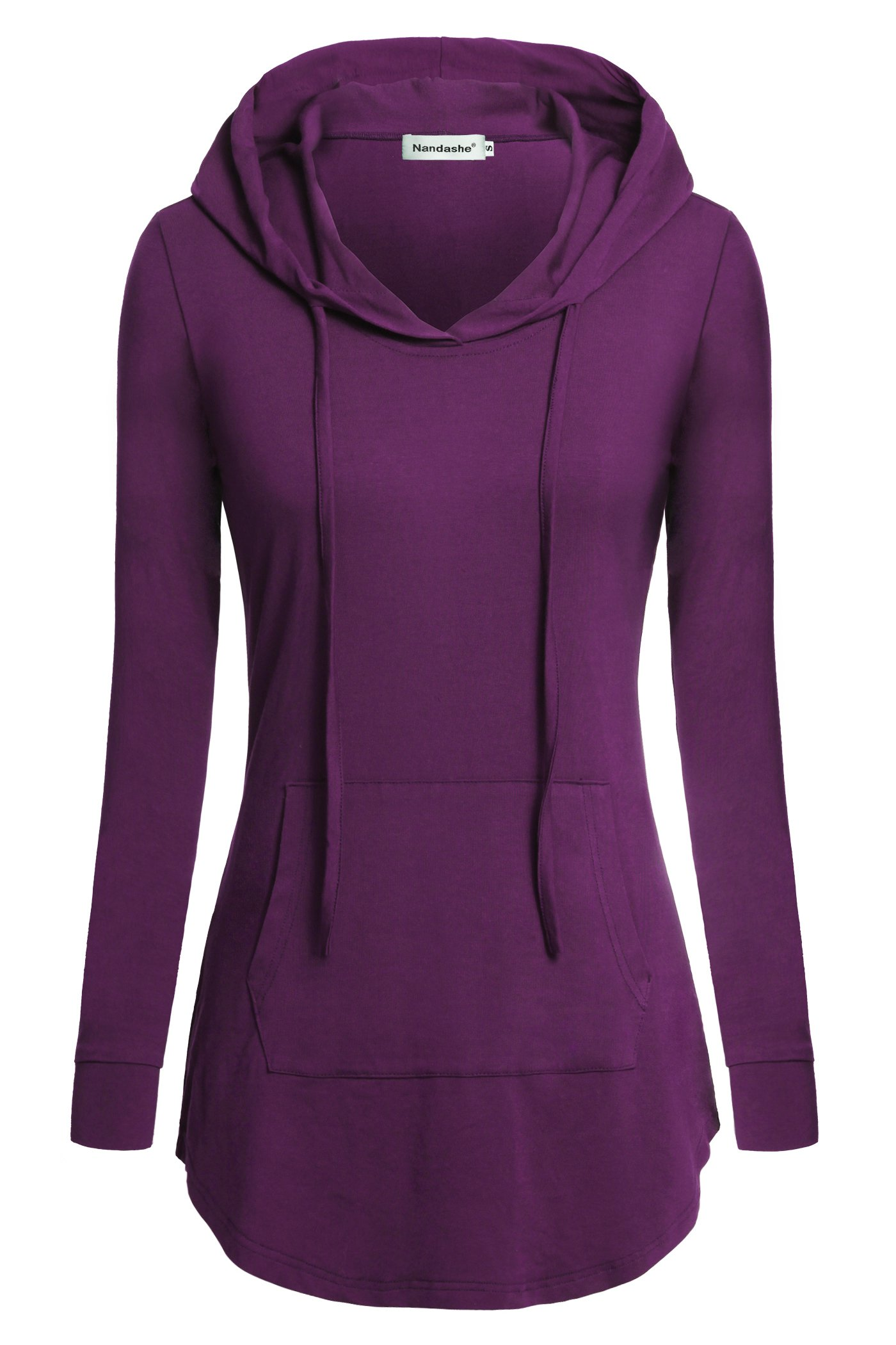 Nandashe Womens Hoodies, Single Lady Elegant Plain O Neck Drawstring Funny Cool Thin Slimming Sweater Blouses to Wear with Leggins Jeans Hot Pants Shorts Tights Capris Sports Trousers Violet Medium