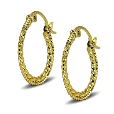 Blue Diamond Club - 9ct Gold Filled Womens Creole Hoop Earrings Twisted Spiral Pattern 20mm 2lpfW