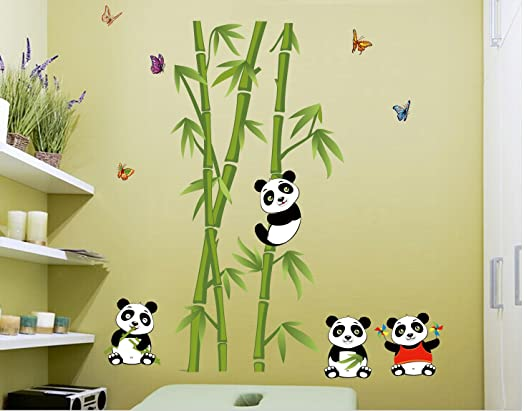 Lovely Pandas Bamboo Wall Decal Home Sticker House Decoration WallPaper  Removable Living Dinning Room Bedroom Kitchen