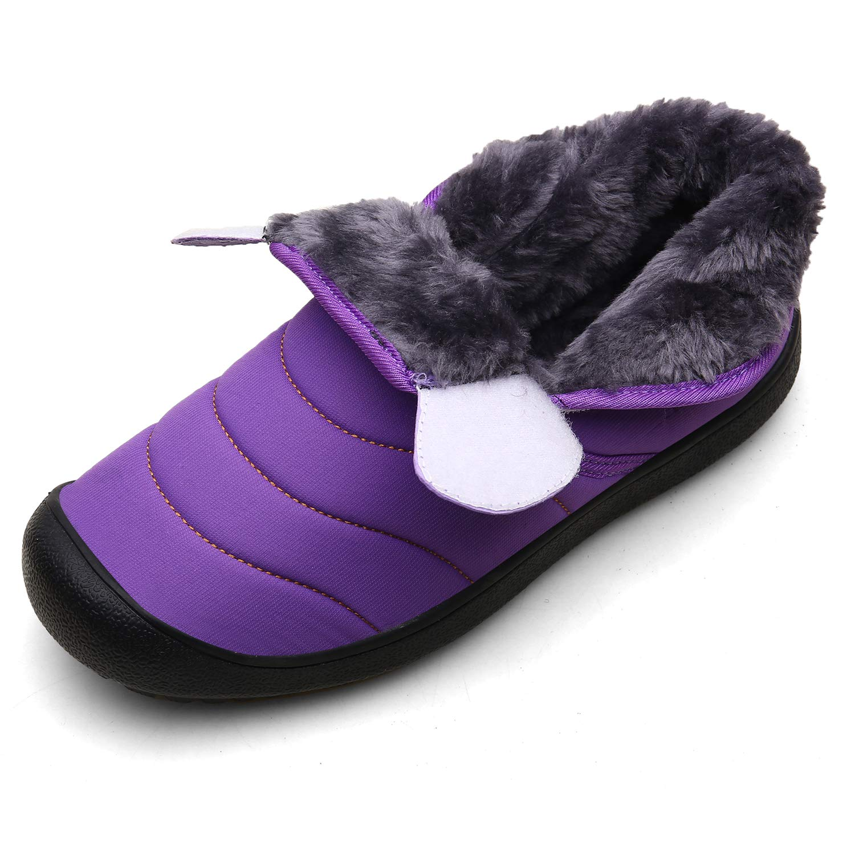 LIGHFOOT Women/&Men Ankle Booties Slip-On Warm Fur Waterproof Anti-Slip Outdoor Plus Size Winter Snow Boots