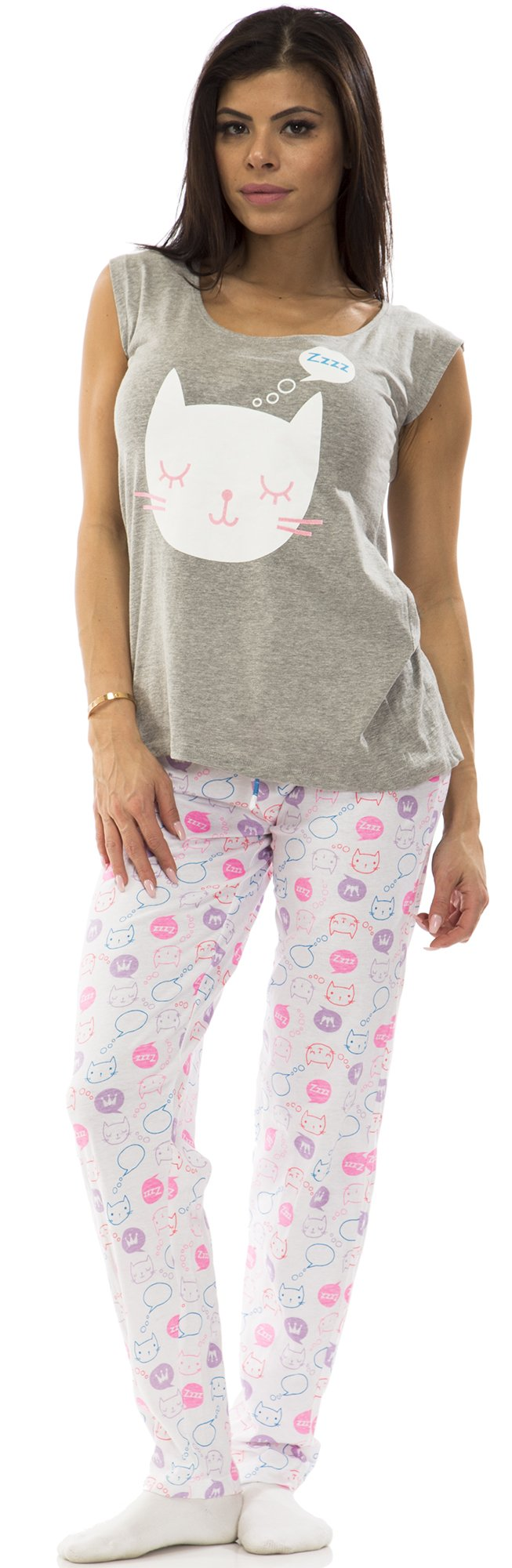 dollhouse (6708DH) Womens 100% Cotton Keyhole Top and Pant 2pc Lounge Pajama Set Size: Large In Gray Kitty (020)