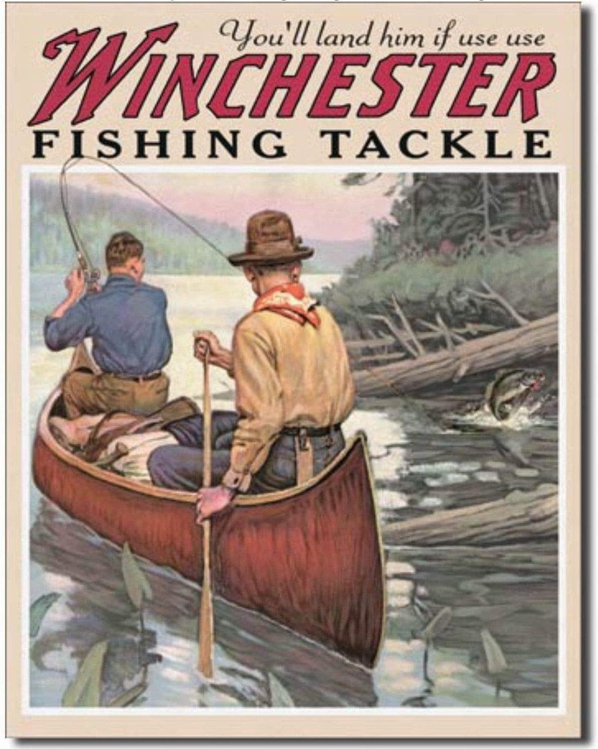 Ufcell 8x12 Vintage Retro Metal Tin Sign Winchester Fish and Tackle Hunting Fishing Home Wall Decor