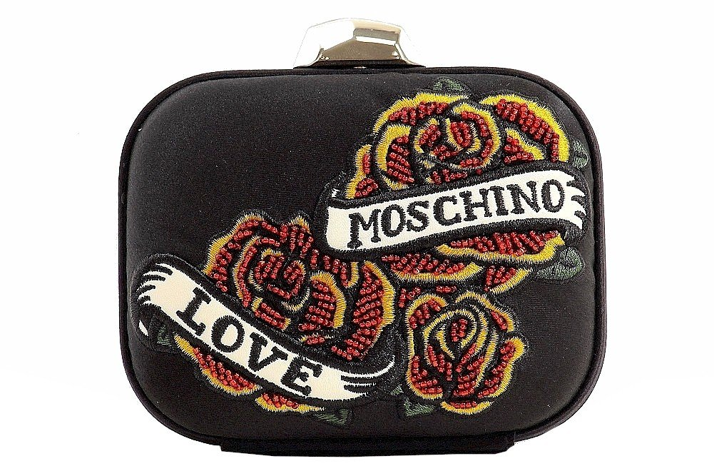 Love Moschino Women's Satin Black Box Clutch Handbag