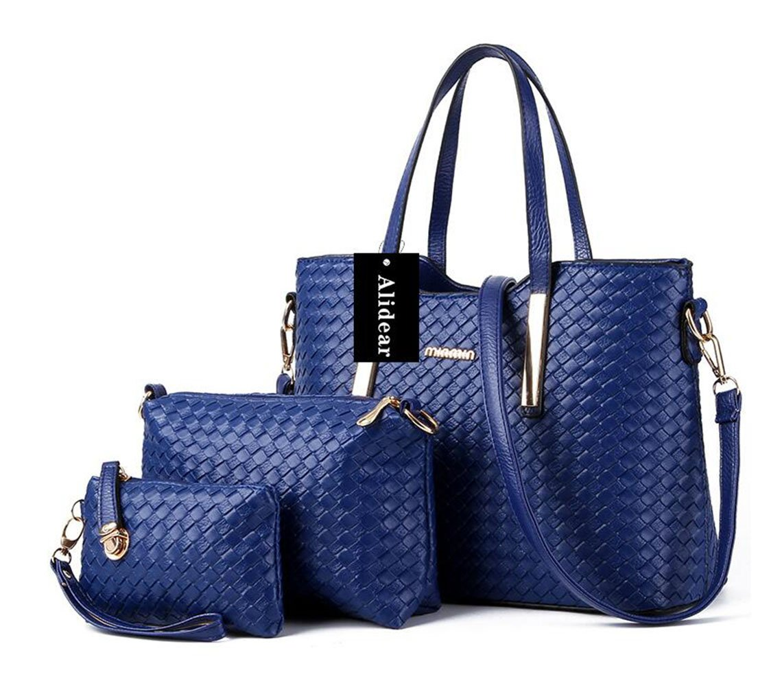 Alidear New Brand and Fashion Casual Tote Shoulder Handbag with Metal Decoration for Women Deep Blue