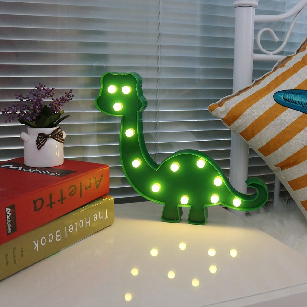 Super Cute Dinosaur LED Night Light, Childen Kids Bedroom Decorative Table Lamps, Marquee Animal Sign, Gift All Dinosaur Lovers! (Dinosaur - Green)