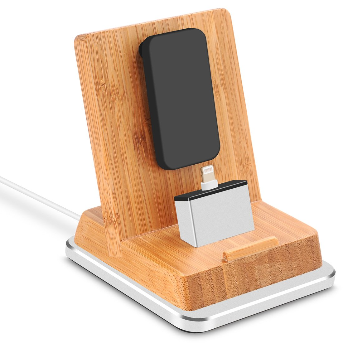 Rerii Bamboo Charge Stand with Aluminum Base, iPhone Charging Dock, iPhone Charger, Stand for iPhone 8, 8 Plus, iPhone X, iPhone 7, 7 Plus, 6, 6 Plus, iPad Air, iPad Mini, Support Charging with Case