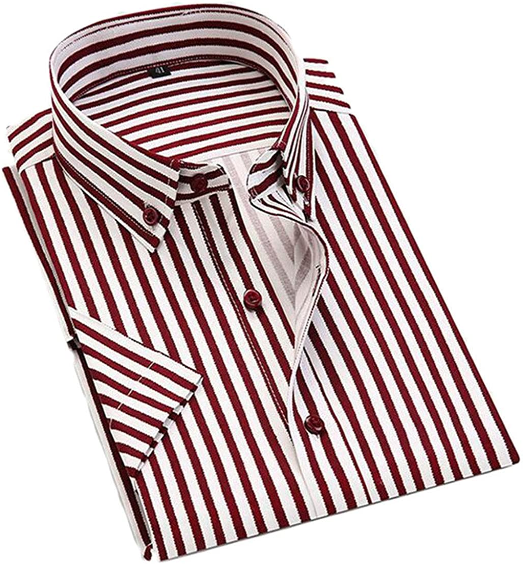 CRYYU Mens Formal Business Vertical Striped Long Sleeve Dress Shirts