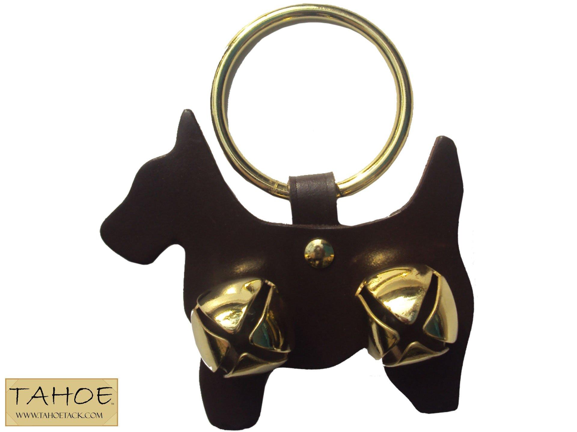 Tahoe Tack Tah-0768 Fancy Holiday Brass Animal Shaped Sleigh Bell Leather Door Hangers, Dark Brown