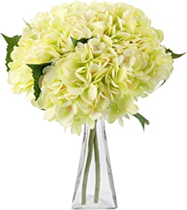 Artificial Flowers Hydrangea Silk Flowers 5PCS Large Heads Faux Hydrangea with Stems for Wedding Centerpieces Bouquets Home Party Decor (Green)