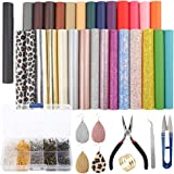 SGHUO 30pcs Leather Earring Making Kit Include 4 Kinds of Faux Leather Sheet and Tools for Earrings Craft Making…