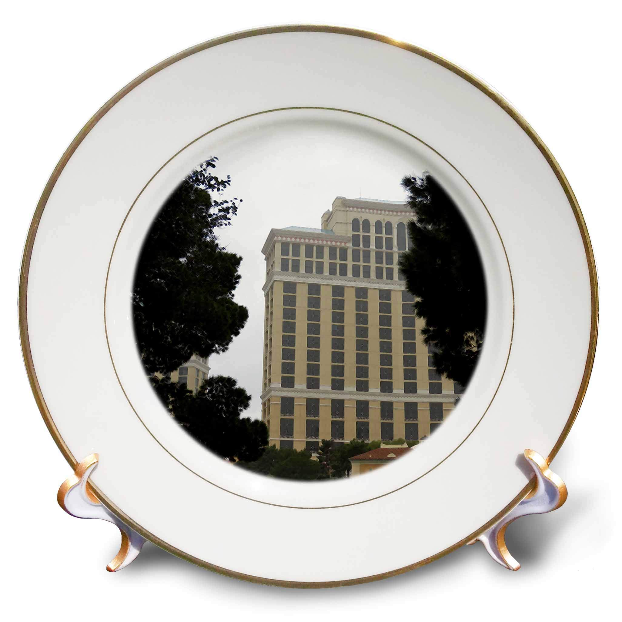 3dRose Jos Fauxtographee- Vegas Hotal with Trees - A Vegas Hotel That has Been Digitally Dry Brushed with Trees - 8 inch Porcelain Plate (cp_291087_1)