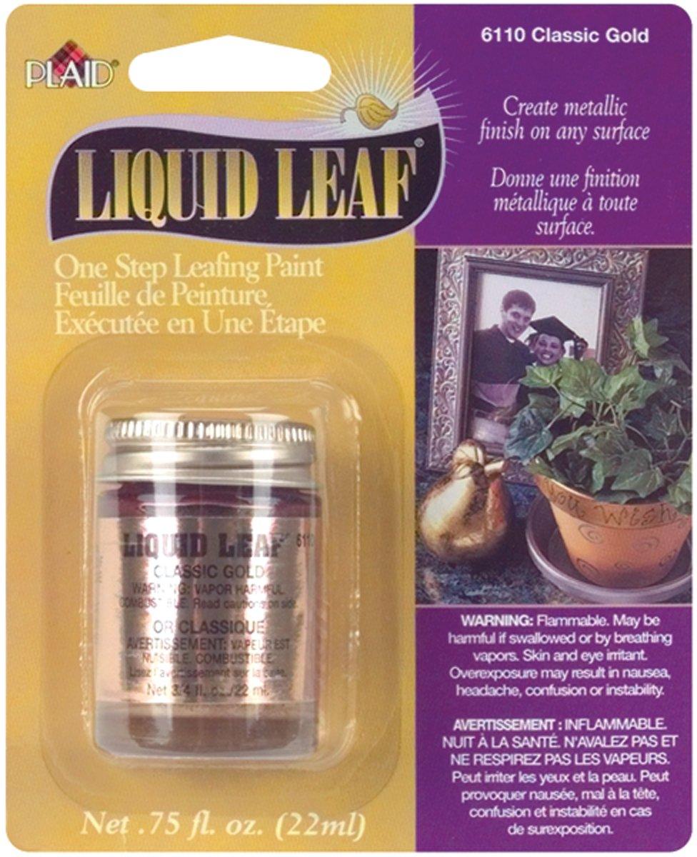 Plaid 6110 :Craft Liquid Leaf One Step Leafing Paint, 0.75-Ounce, Classic Gold