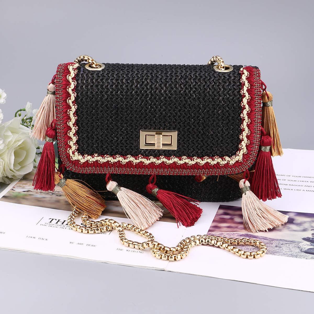 khaki FENICAL Fashion Tassel Straw Bag Mini Crossbody Bag Handmade Woven Bag Shoulder Bag for Women