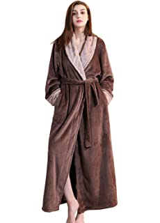 Ladies Winter Fleece Dressing Gown Pink Grey Women Long Bathrobe M L XL  Housecoat Nightgown… 8af29a8d0