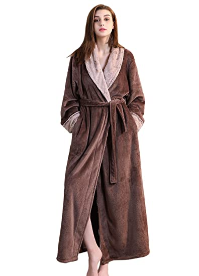 Ladies Winter Fleece Dressing Gown Pink Grey Women Long Bathrobe M L