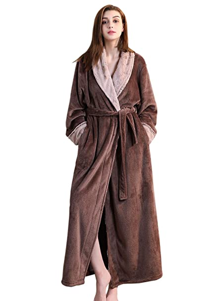Ladies Winter Fleece Dressing Gown Pink Grey Women Long Bathrobe M L XL  Housecoat Nightgown Super Soft Warm Sleepwear Girls Lightweight Nightwear  Terry ... 8c648a21b