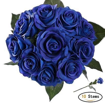 StarLifey 10 Cabezas Artificial Flores casa decoración de Boda Decoración DIY de flores ramo Azul
