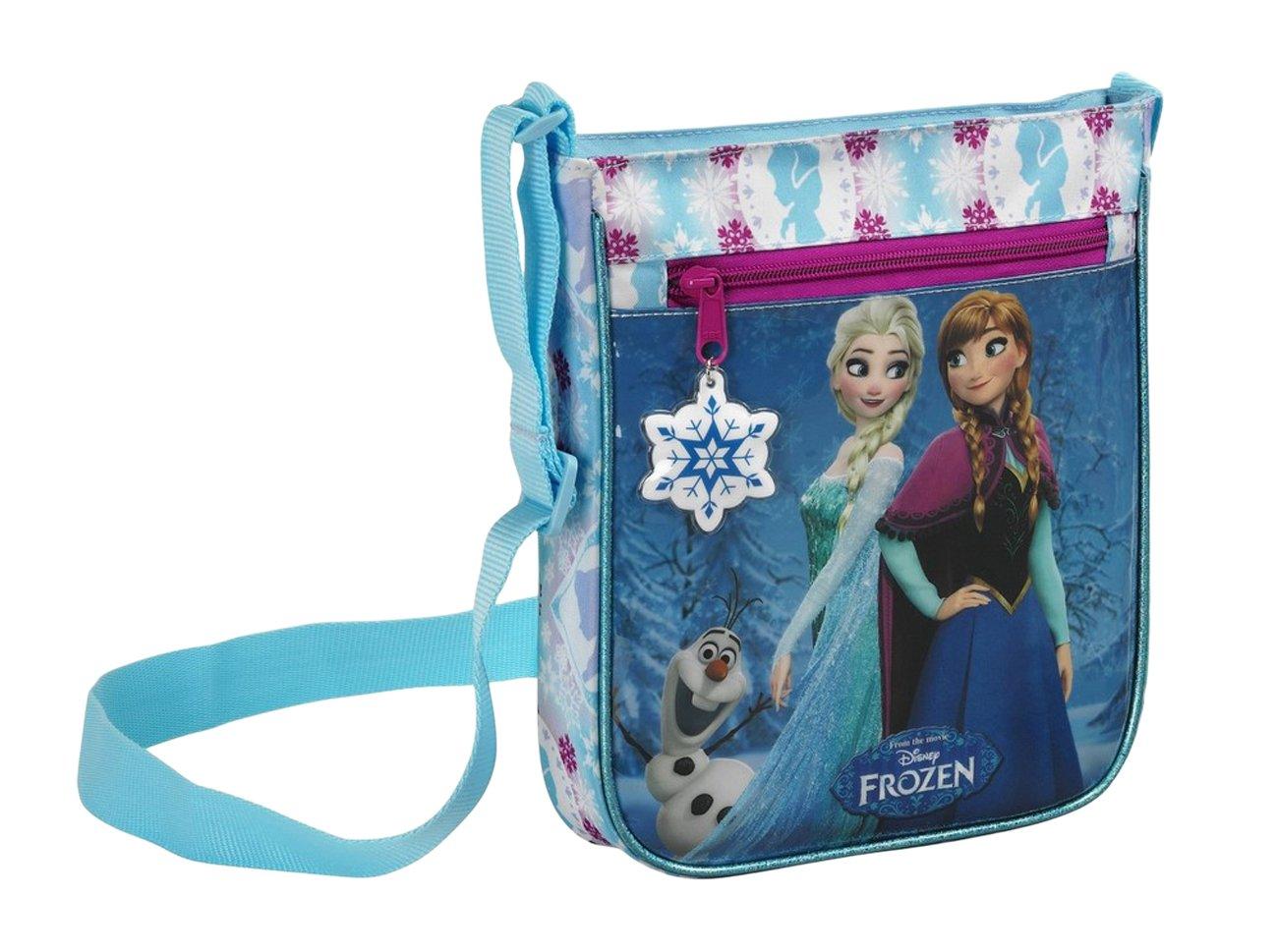 Disney Frozen - Die Eiskönigin Anna und Elsa, Umhängetasche, blau/weiß, 25 x 21 x 4,5 cm Umhängetasche blau/weiß Safta 048419