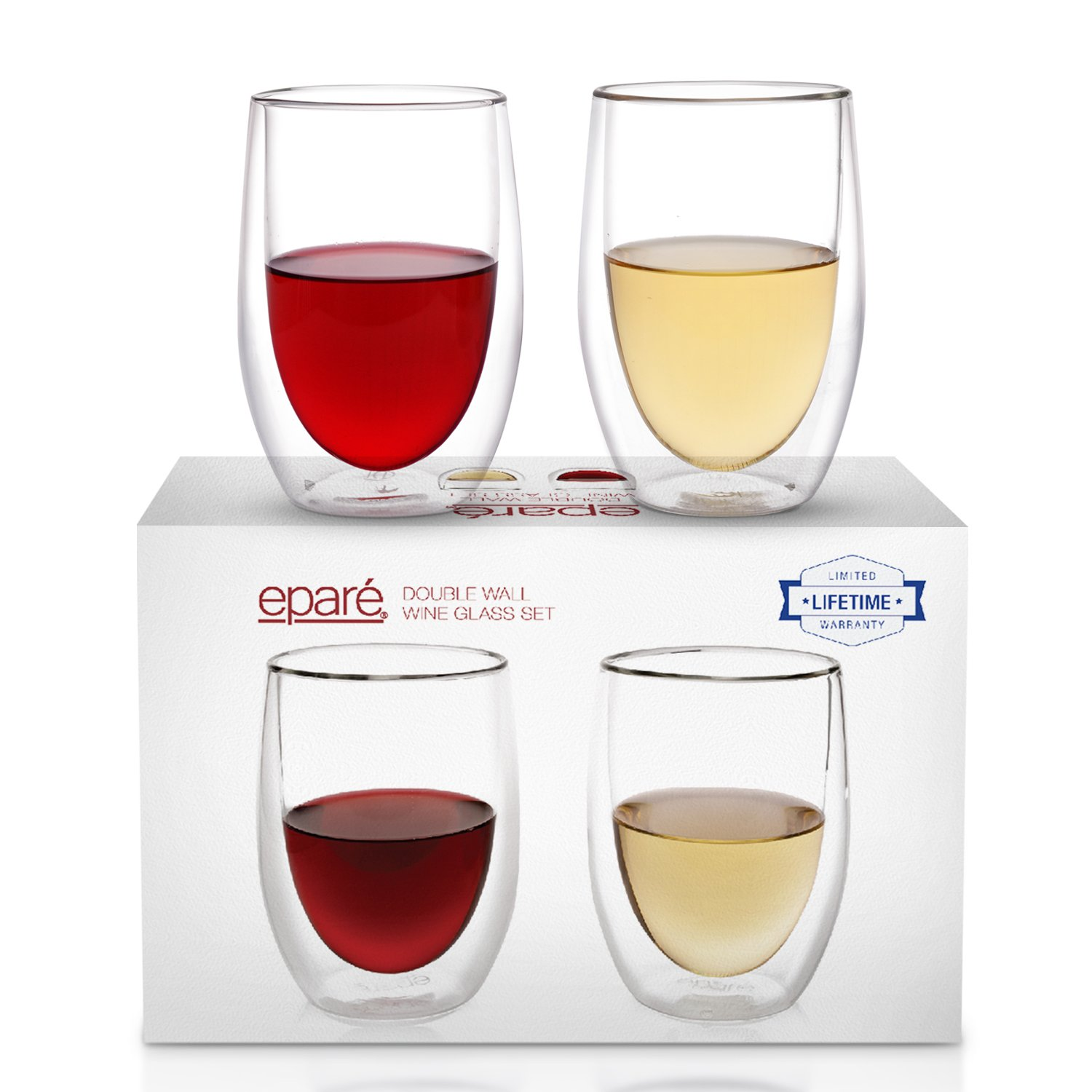 Eparé Wine Glasses - Set of 2 - Insulated Double-Walled Glassware - Stemless Drinking Glass - Red & White Wine Tumblers