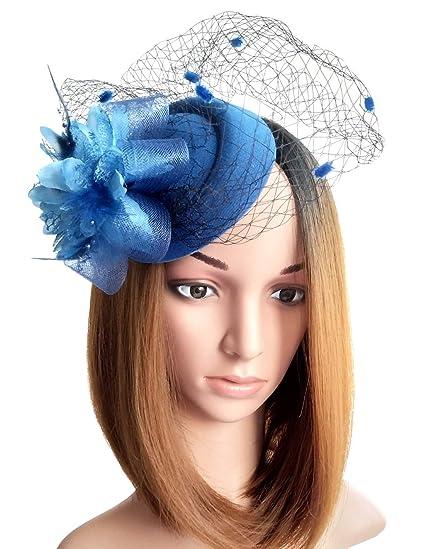 41324cef3a280 Fascinator Hats Pillbox Hat British Bowler Hat Flower Veil Wedding Hat Tea  Party Hat (Blue