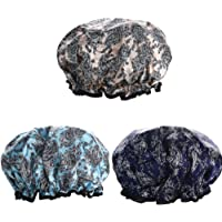 Waterproof Shower Cap 3 PACK, Double Layers Bath Cap with Adjustable Elastic Band, Stylish Shower Cap for Women Long…