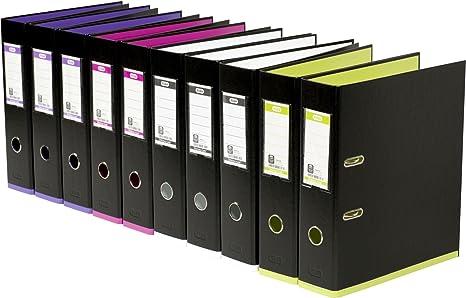 Elba 100023639 - Archivador palanca negro/surtido Mycolor paquete 10 archivadores