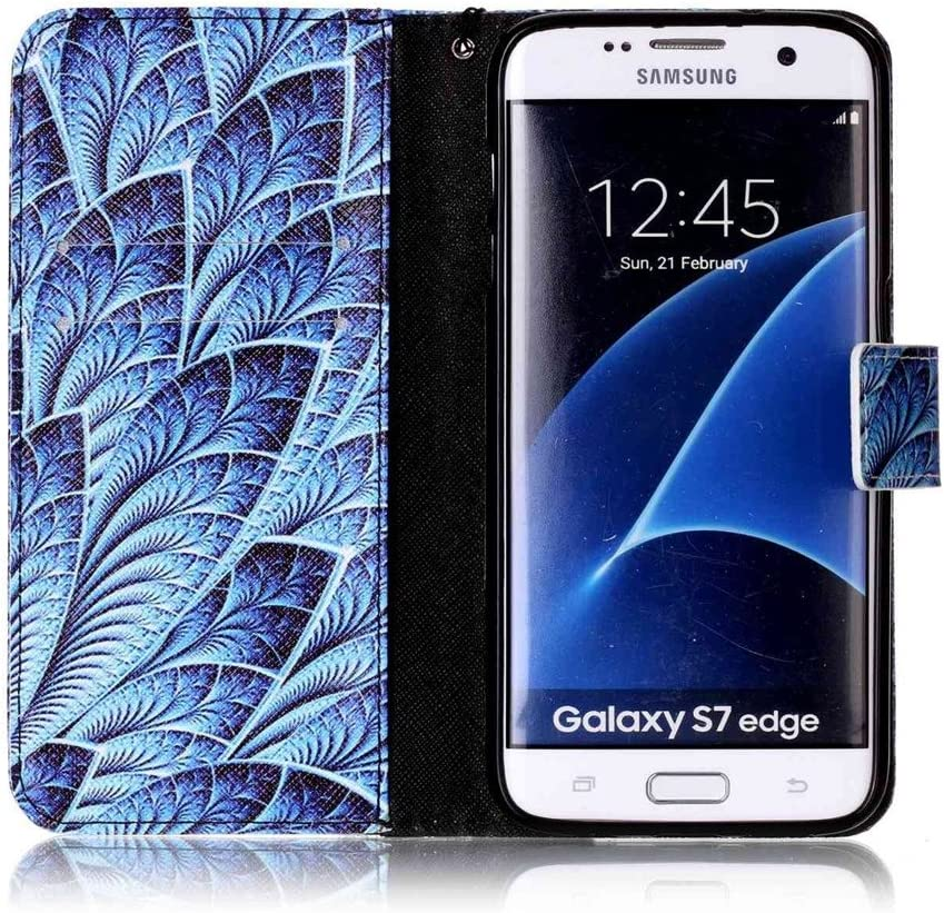 Galaxy S7 Edge Case,LEECOCO Fancy 3D Relief Embossed Wallet Case with Card//Cash Slots Kickstand Shockproof Premium PU Leather Flip Case Cover for Samsung Galaxy S7 Edge Elephant Blue