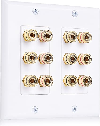 Cable Matters 2-Pack Speaker Wire Wall Plate Speaker Wall Plate, Banana Plug Wall Plate for 1 Speaker in White