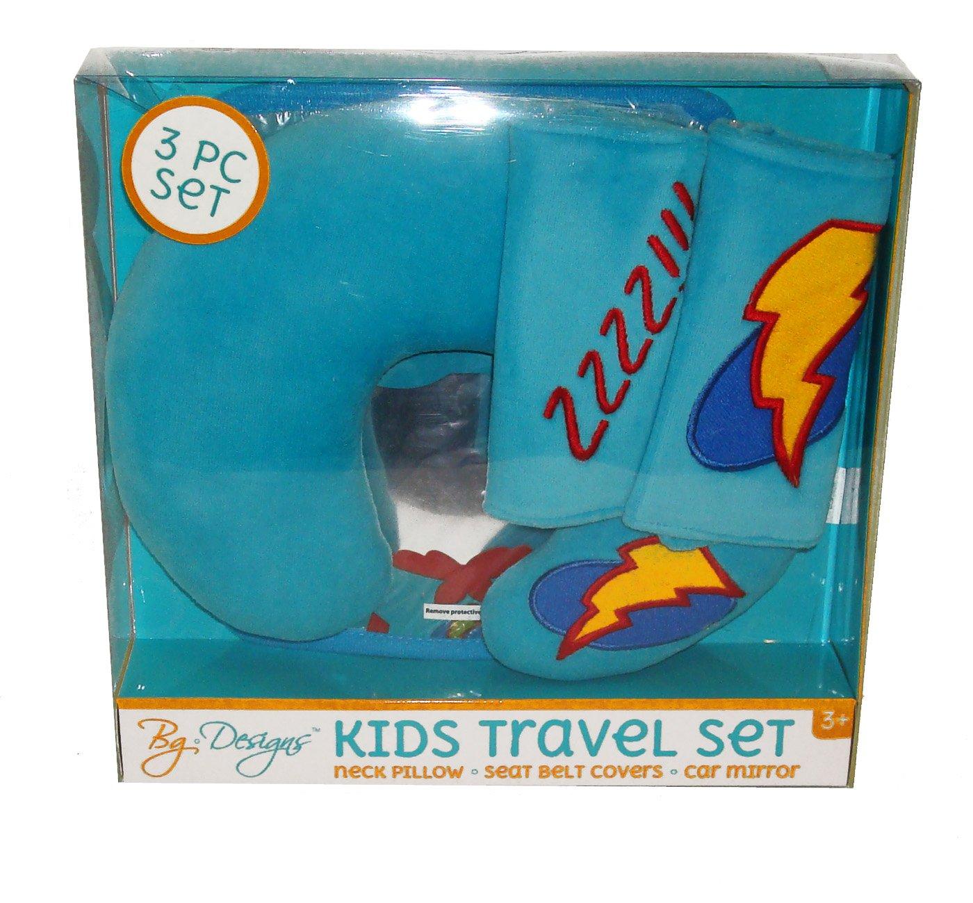 Super Hero Kids Travel Set for Car Seat or Stroller Neck Rest Pillow, Seat Belt Covers , Car Mirror BG Designs